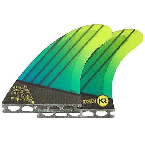 Kinetik Racing Fins Quad Futures Trailers - Neon Aqua Green