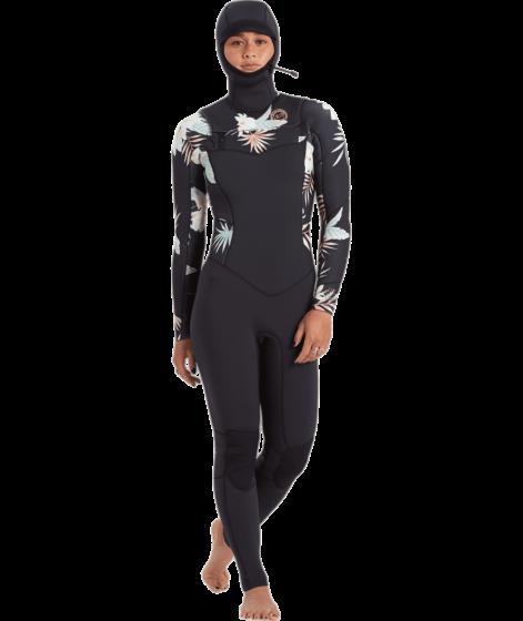 Billabong Women's Salty Dayz 4/3 Hooded Chest Zip Wetsuit - Front