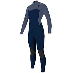 O'Neill Women's Hyperfreak 4/3+ Chest Zip Wetsuit - Abyss/Dusk