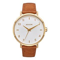 Nixon Women's Arrow Leather Watch - Gold/White/Saddle
