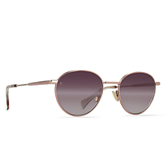 Raen Women's Andreas Sunglasses - Satin Rose Gold/Plum Gradient Mirror - Side Angle