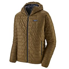Patagonia Nano Puff Hoodie Jacket - Coriander Brown/Smolder Blue - main