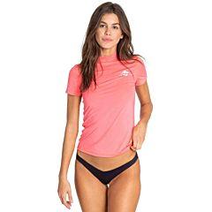 Billabong Women's Core Loose Fit Short Sleeve Rashguard - Neon Coral
