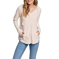 Roxy Women's Long Night Hooded Top - Cafe Creme Zoupla - front