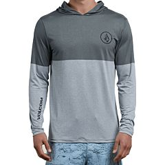 Volcom Lido Heather Block Long Sleeve Rash Guard - Pewter