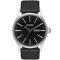 Nixon Sentry Leather Watch - Black/Gunmetal