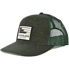 Cleanline Lines Trucker Hat - Dark Green/Herringbone