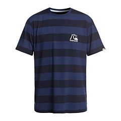 Quiksilver Stripe Sea Short Sleeve Rash Guard - Medieval Blue