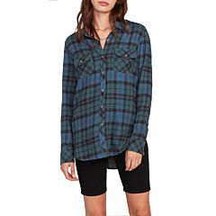 Volcom Women's Getting Rad Flannel - Emerald Green - front