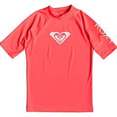 Roxy Women's Whole Hearted Short Sleeve Rash Guard - Fiery Coral