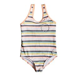 Roxy Youth Girls  Lets Go Surfing One-Piece Swimsuit - Salmon Candy Stripes