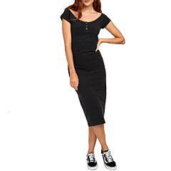 RVCA Womens Stripped Down Dress - Black - front