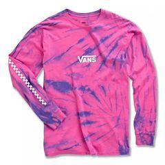 Vans Tie Dye Checker Long Sleeve T-Shirt - Fuchsia Purple - front