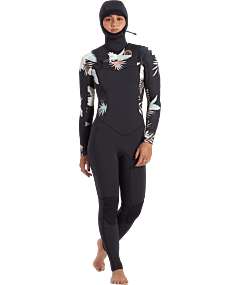 Billabong Women's Salty Dayz 4/3 Hooded Chest Zip Wetsuit - Front