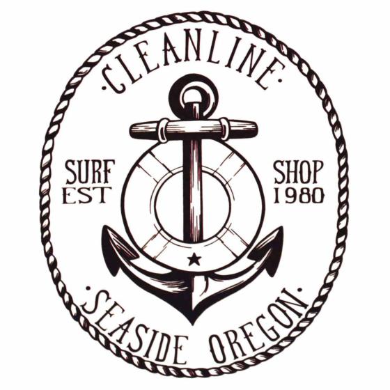 Cleanline Surf Anchor Sticker - Black