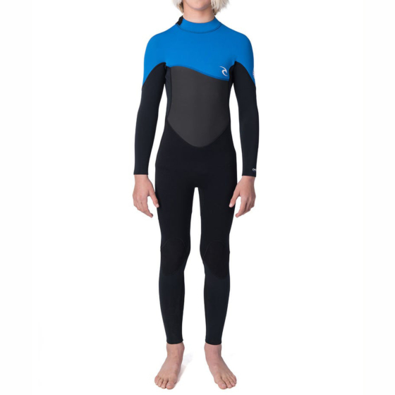 Rip Curl Youth Omega 4/3 Back Zip Wetsuit - blue front