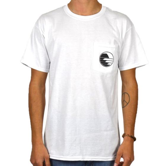Cleanline Sunset Circle Pocket T-Shirt - White