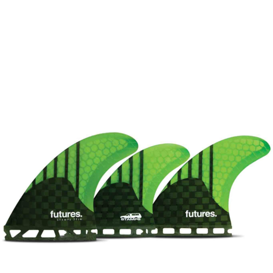 Futures Fins Stamps Generation Tri-Quad - Carbon/Neon Gree