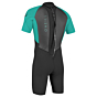 O'Neill Youth Reactor II 2mm Short Sleeve Back Zip Spring Wetsuit - Black/Aqua - Back