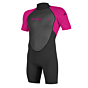 O'Neill Youth Reactor II 2mm Short Sleeve Back Zip Spring Wetsuit - Black/Berry