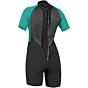 O'Neill Women's Reactor II 2mm Short Sleeve Back Zip Spring Wetsuit - Black/Aqua
