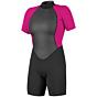 O'Neill Women's Reactor II 2mm Short Sleeve Back Zip Spring Wetsuit - Black/Berry