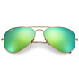 Ray-Ban Aviator Sunglasses - Matte Gold/Crystal Green Mirror