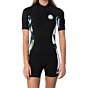 Rip Curl Women's Dawn Patrol 2mm Short Sleeve Back Zip Spring Wetsuit - White/Black