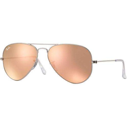 Ray-Ban Aviator Sunglasses - Matte Silver/Brown Mirror Pink